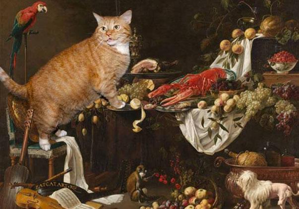 Gatto rosso inserito in dipinti famosi